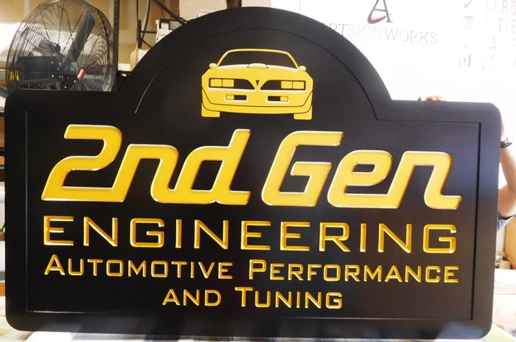 SA28743 - Carved HDU Sign for  2nd Gen Engineering Company, 2.5-0D with 24K Gold-Leaf Gilding