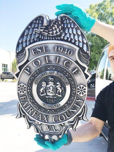 MD4190 - Police Badge, Fairfax County, Virginia, Aluminum 3-D Hand-rubbed