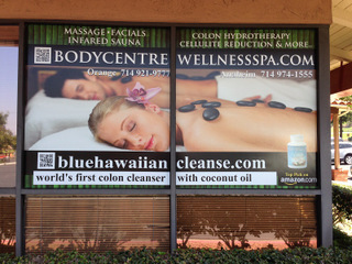 Window graphics for spa and fitness centers Anaheim CA