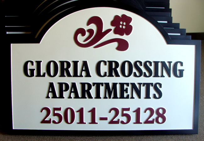 K20131 - Carved Address Sign for Gloeia Crossing Apartments, with Stylized Flower
