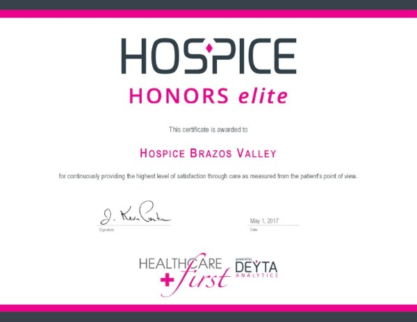 Hospice Brazos Valley has achieved Elite status in the Hospice Honors program