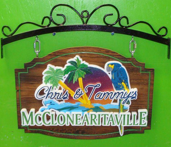 "I18707- Carved Cedar Entrance Sign, with ""Margaretaville""Style Art (Parrot , Sunset, Ocean, Palm)"