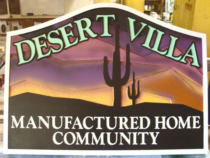 M22950A -  Desert Community Entrance Sign, with Saguaro Cactus and Sunset
