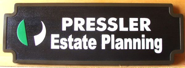 C12083 - Sandblasted HDU Name Sign for Estate Planning Office, with Raised Text and Trim