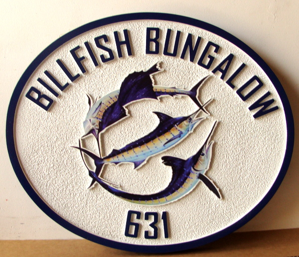 "L21372 - Sandblasted Seacoast Residence Sign, ""Billfish Bungalow"", with Sailfish, Marlin and Swordfish"