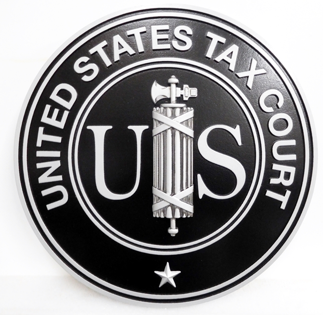 FP-1112 - Carved Plaque of the Seal  of the US Tax Court, Painted with Metallic Silver and Black Paint