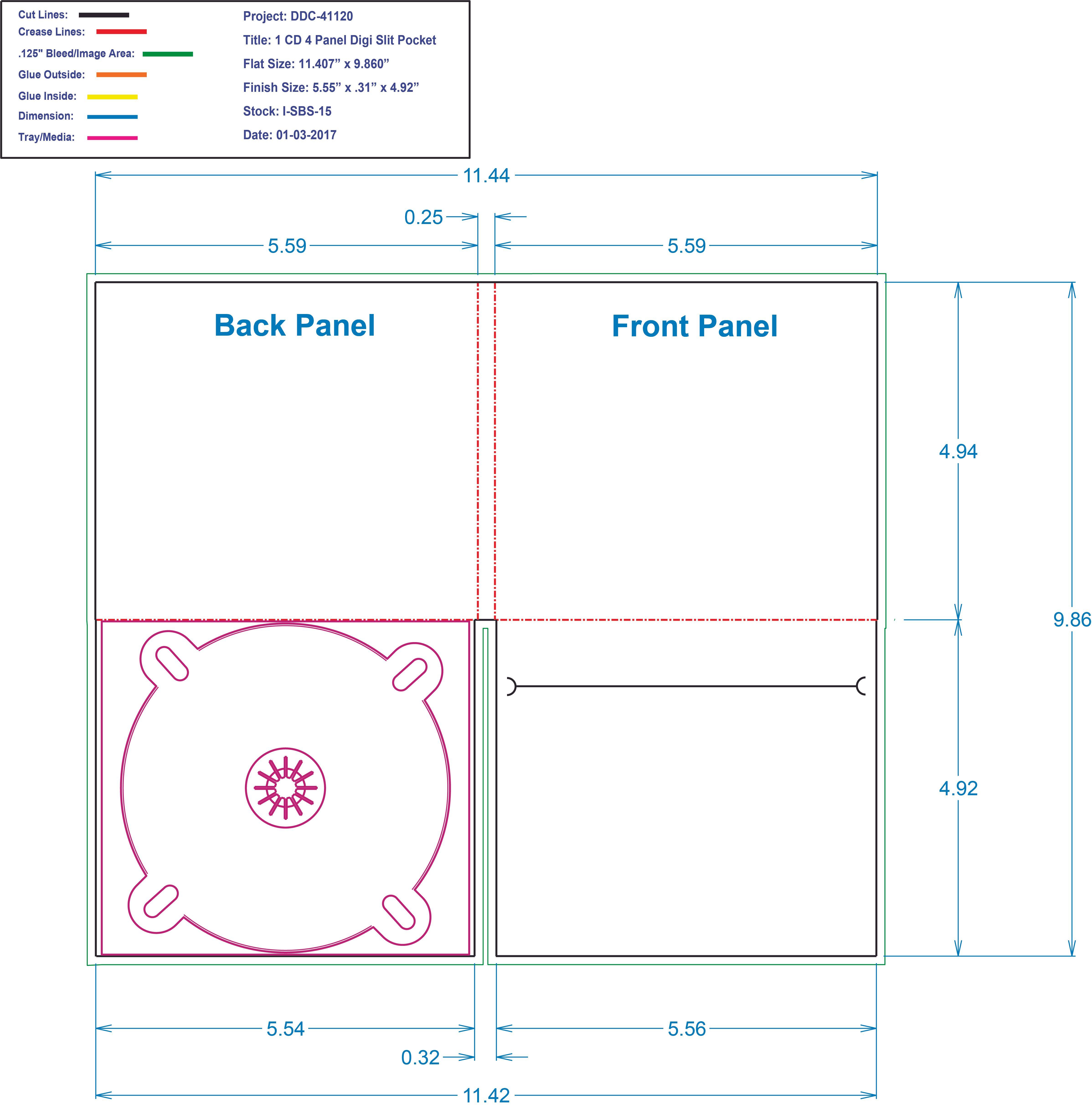 DDC41120 - 4 Panel Digi 1 Tray, Slit Pocket