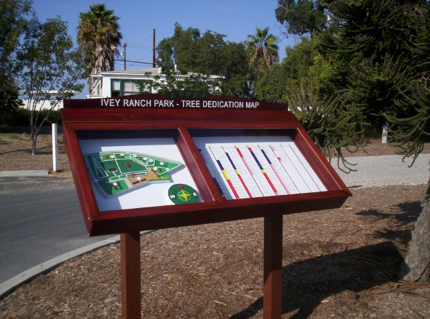 GA16570 - Ivy Ranch Park Tree Dedication Map Mounted in Cedar Wood, Post-Mounted, Display Case