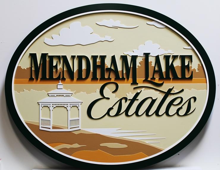 "K20400 -  ElegantCarved Multi-Level High-Density-Urethane (HDU) Entrance Sign for a Residential Community ""Mendham Lake Estate"", with Lake and GazeboArtwork"