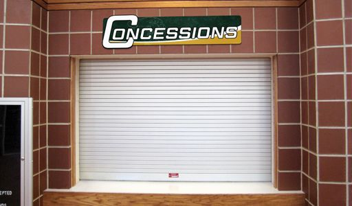 Concession sign above concession window, custom signs for schools, school navigation