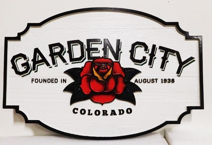 F15335 - Large Carved Wood  Entrance  Sign for Garden City, Colorado , 2.5-D Arist-Painted with Rose as Artwork