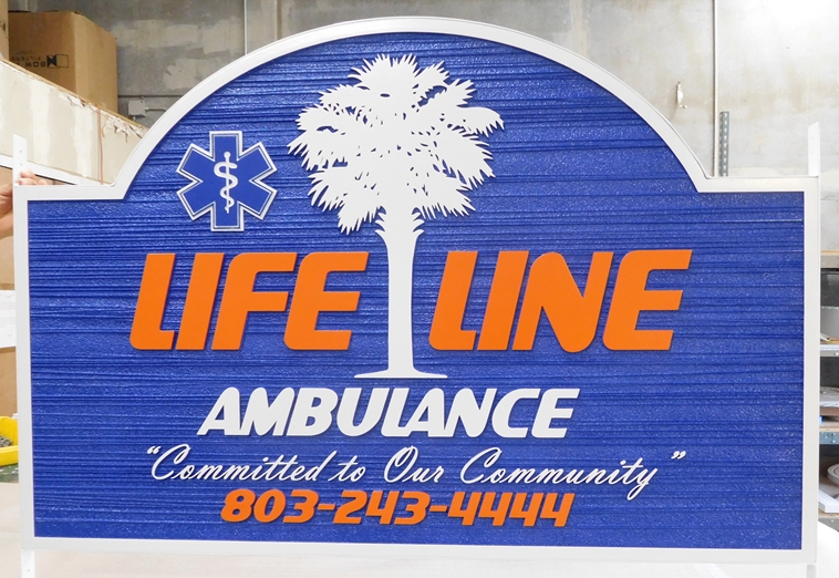 "S28104 - Carved  and Sandblasted Wood Grain HDU Sign for the ""Lifeline Ambulance""  Company."