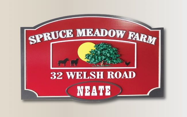"""O24805 - Carved Address Sign for the """"Spruce Meadow Farm"""" , with  Farm Animal Silhouette and a Carved 3-D Tree as Artwork"""