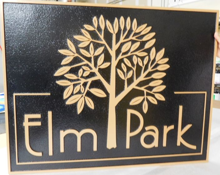 GA16456 - Large Carved  HDU  Entrance Sign, with Stylized Elm Tree, Brass Painted