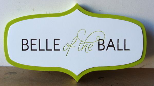 """P25412 - Engraved HDU Horse Stall Sign """"Bell of the Ball"""""""