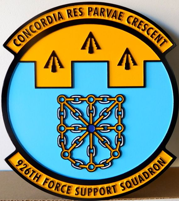 """LP-2360 - Carved Round Plaque of the Crest of the 926th Force Support Squadron """"Concordia Res Parvae Crescent"""",  Artist Painted"""