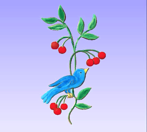 M2989 - Carved Bird on Branch, painted enamels (Gallery 21)
