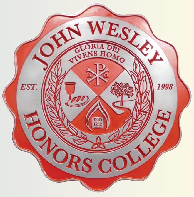 RP-1870 - Carved Wall Plaque of  the Seal of John Wesley Honors College, Aluminum Plated