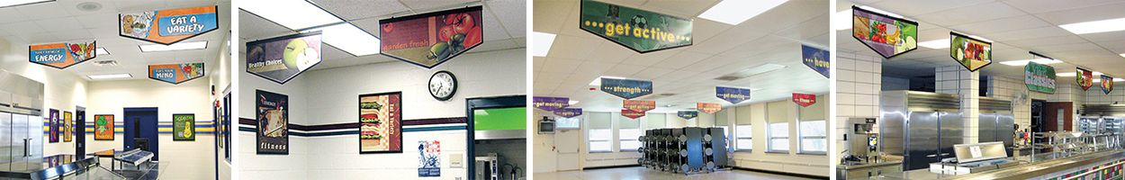 4 images of food banners in school cafeterias, custom banners, nutrition education