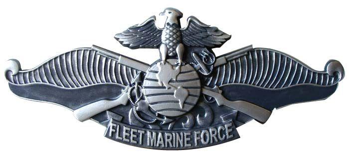 V31426 - 3-D Carved HDU Wall Plaque of  Fleet Marine Force  Badge