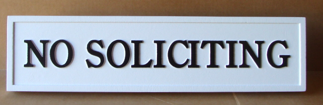 "KA20739 - Carved HDU  Sign ""No Soliciting"""