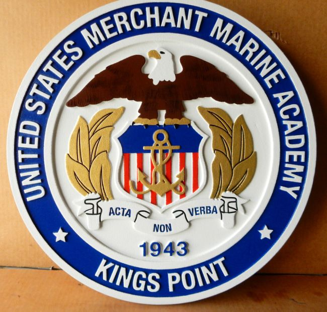 RP-1440 - Carved Wall Plaque of  the Seal of the US Merchant Marine Academy, Kings Point, Artist Painted