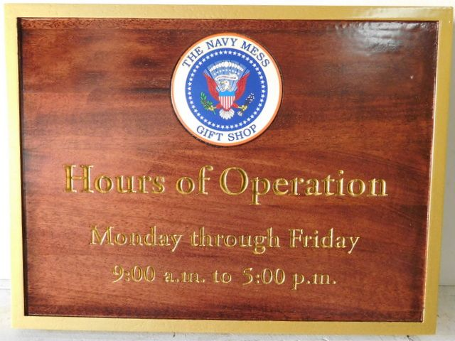 AP-1220-  Engraved Mahogany Plaque for the Navy Mess Gift Shop, White House