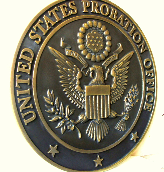 M7134 - Brass Sculpted Wall Plaque of US Great Seal, Side View