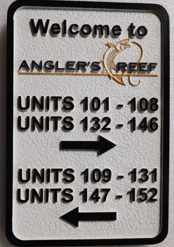 KA20851- Custom Carved  Directional Unit Number Building Sign for the Angler's Reef Apartments