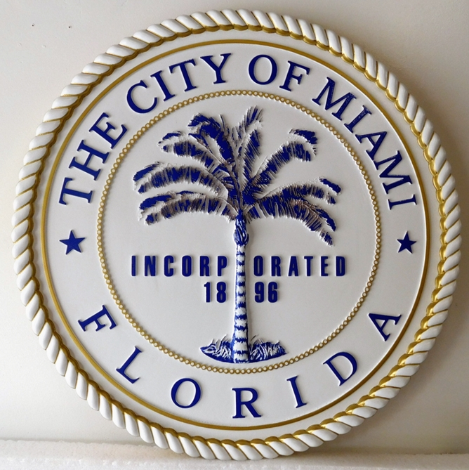 DP-1653 - Carved Plaque of the Seal of the City of Miami, Florida,  Artist Painted 3-D