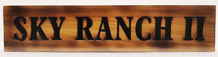 O24961  - Cedar Wood Entrance Sign for Sky Ranch II, with Burned Look