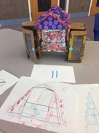 Students learn design and critical thinking skills to develop their little library prototypes.