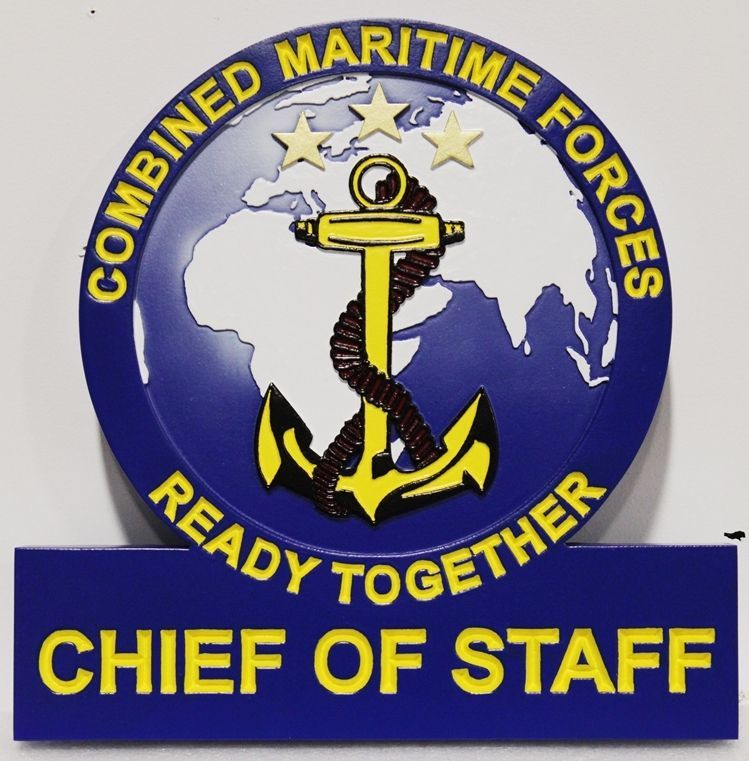 JP-1235 - Carv 2.5-D Relief Plaque of the Seal of the Chief of Staff of the Combined Maritime Forces