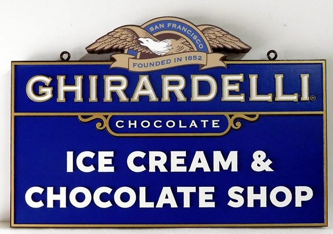Q25818 -Design of Sign for Ghirardelli  Ice Cream and Chocolate Shop with Eagle Logo