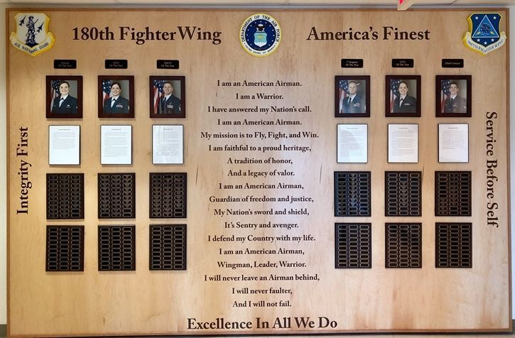 SB1090 - Personnel Recognition plaque listing  Air National Guard Officers and Airmen of the 180th Fighter Wing, Carved from American Maple