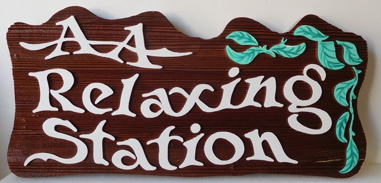 "SA28808 -  Dark Stained Carved Cedar sign for the ""AA Relaxing Station"" , with Leaves as Artwork"