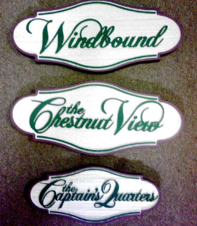 T29076 - Sandblasted HDU Room Name Signs for Historic Wells House, Colonial Style