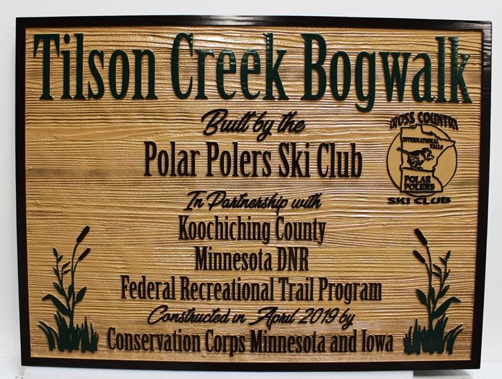 G16111 - CarvedCedar Wood Sign for the Tilson Creek Bogwalk Trail in Minnesota