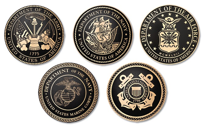 IP-1280 - Set of Plaques of the Seals of Five Armed Forces, Cast Solid Bronze