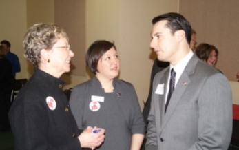 Sen. Mello (right) with constituents