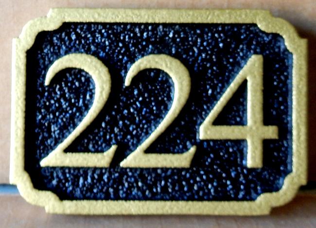 KA20913 - Sandblasted, Sandstone Look Carved HDU Sign for House or Commercial Building Street Number (Address)