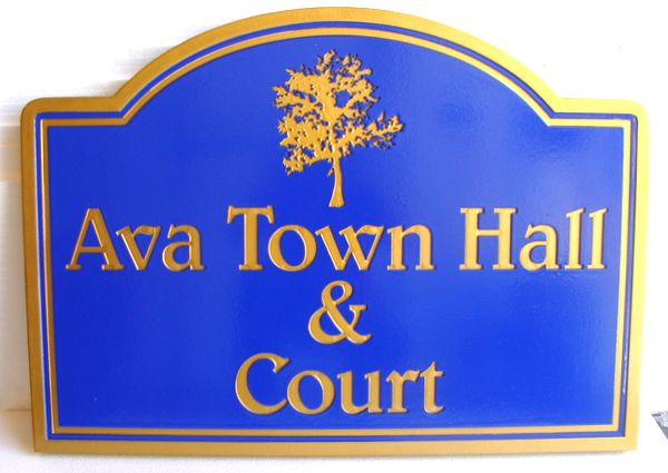 F15080 - Carved HDU Sign for Town Hall and Court