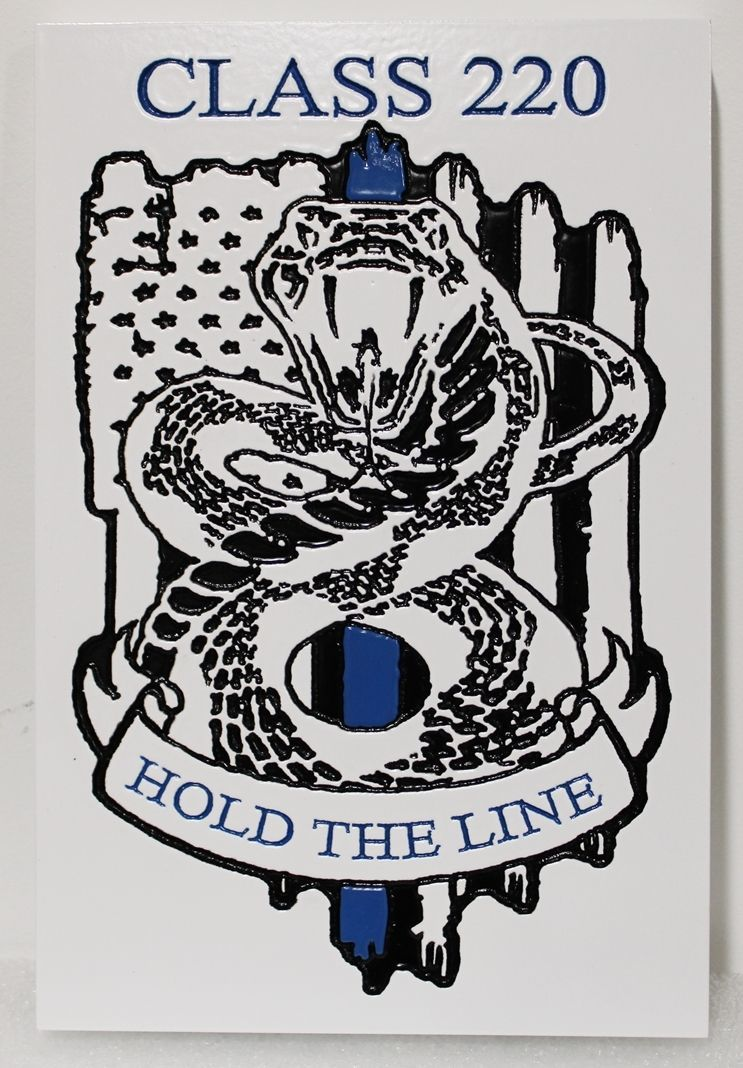 "TP-1405 - Engraved HDU Plaque of the Logo ""Hold the Line"" of Class 220 of a High School"