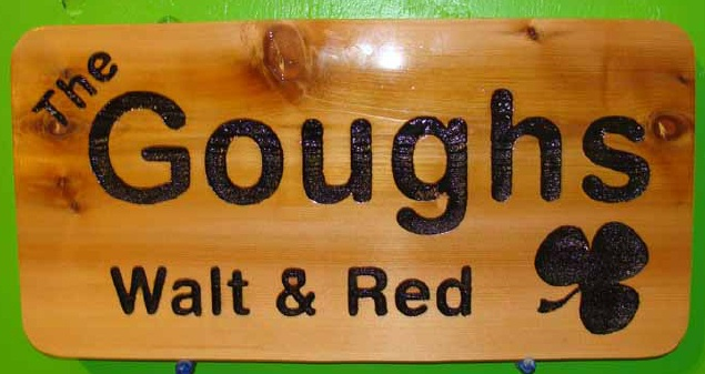 I18930 - Natural Cedar Sign with Residence Owner's Name and Shamrock engraved by Reverse Sandblasting