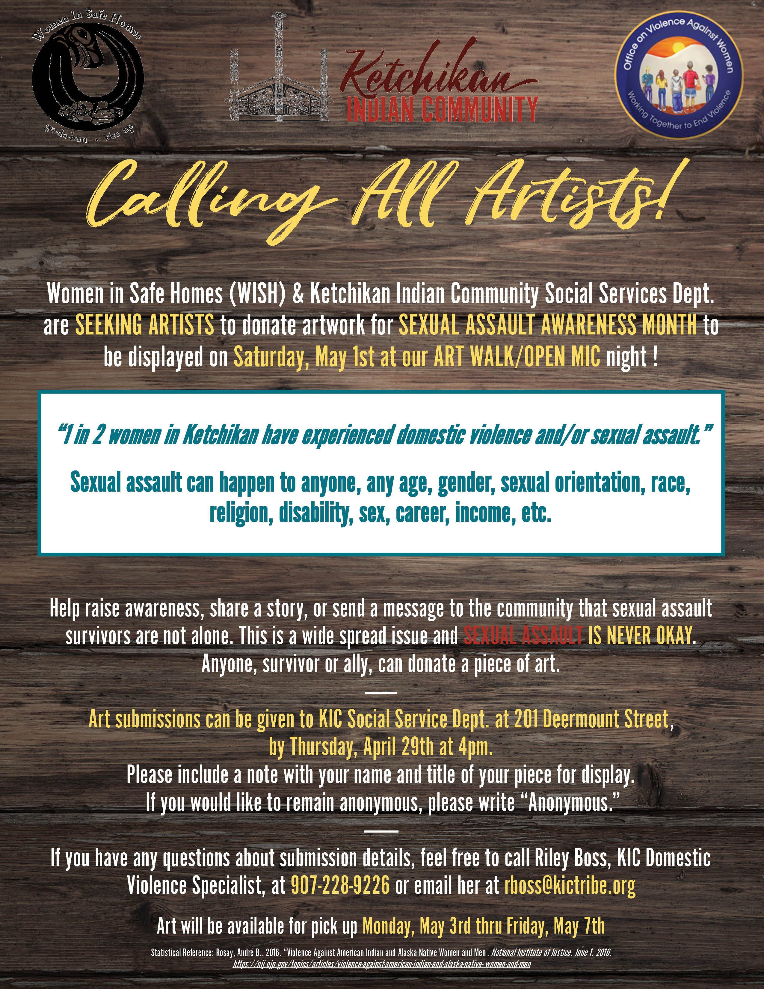 Calling all Artists to submit work for display Sexual Assault Awareness Month