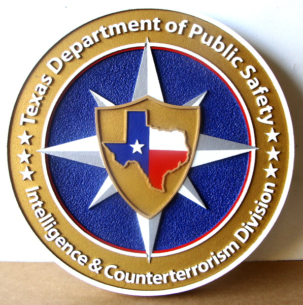 W32485 - Carved 3-D HDU Wall Plaque for the Texas Department of Safety