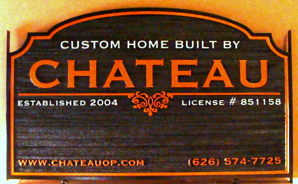 "S28070 - Carved Sandblasted Wood Grain Sign for ""Chateau""  Custom Home Builders,"