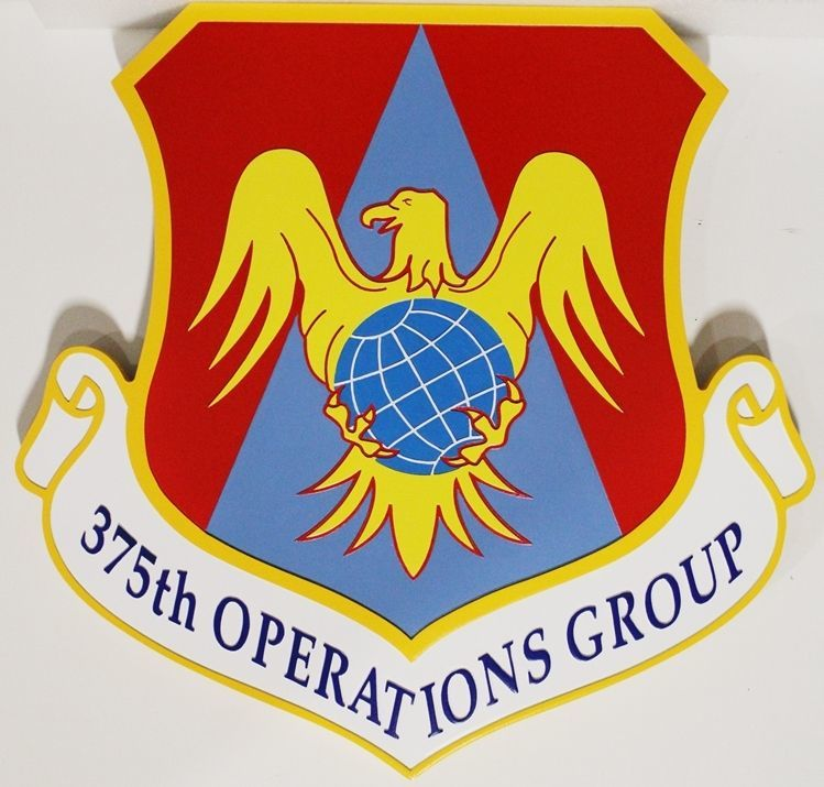 LP-2170 - carved 2.5-D HDU Plaque of the Shield Crest of the 375th Operations Group, US Air Force