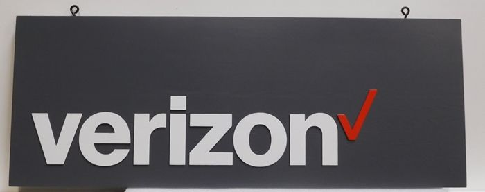 SA28712 - Carved Hanging Sign for a Verizon Store, 2.5-D Artist-Painted