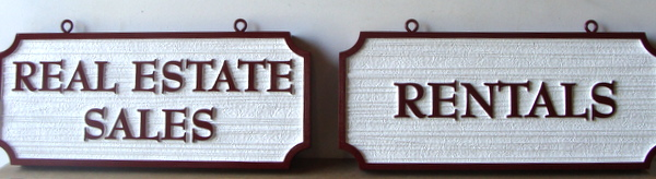 KA20541 - Carved (Choice of HDU or Wood) Signs for Real Estate Sales and Rentals